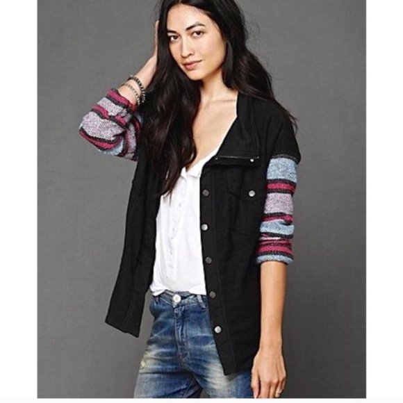Free People Jackets & Blazers - Free People Oversized Stripe sleeve Jacket